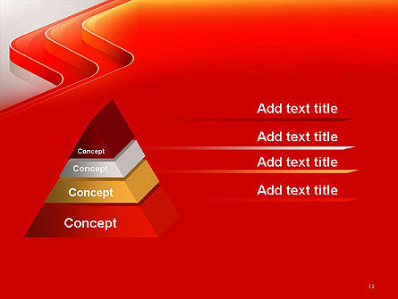 Abstract Glossy Red Orange Perspective Steps PowerPoint Template Slide 12