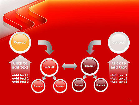 Abstract Glossy Red Orange Perspective Steps PowerPoint Template Slide 19