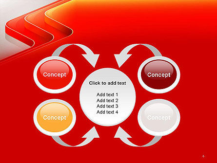 Abstract Glossy Red Orange Perspective Steps PowerPoint Template Slide 6
