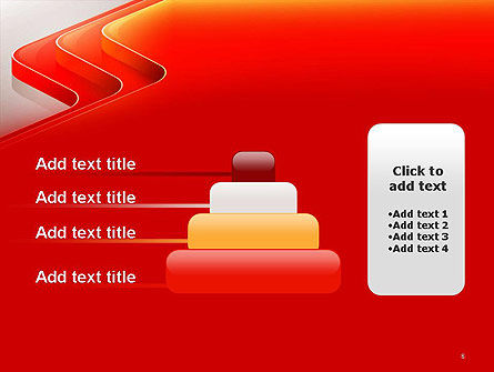 Abstract Glossy Red Orange Perspective Steps PowerPoint Template Slide 8