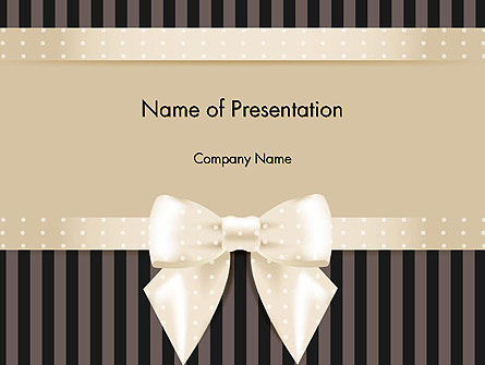 Ornate Beige Ribbon And Elegant Bow Powerpoint Template