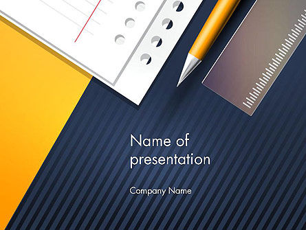 Pencil Ruler and Notebook PowerPoint Template, 14487, Education & Training — PoweredTemplate.com