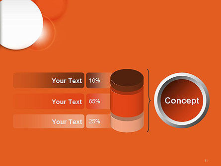 White Circle on Orange Background PowerPoint Template Slide 11