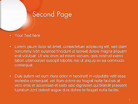 White Circle on Orange Background PowerPoint Template, Slide 2, 14489, Abstract/Textures — PoweredTemplate.com