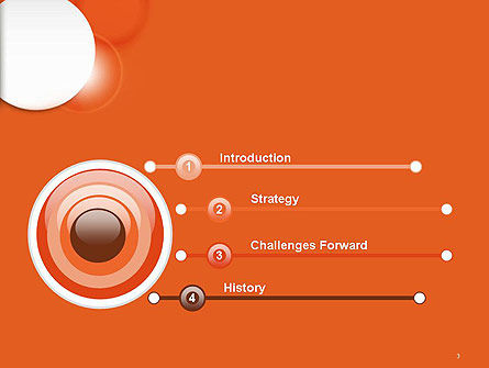 White Circle on Orange Background PowerPoint Template Slide 3