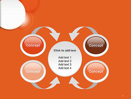 White Circle on Orange Background PowerPoint Template Slide 6