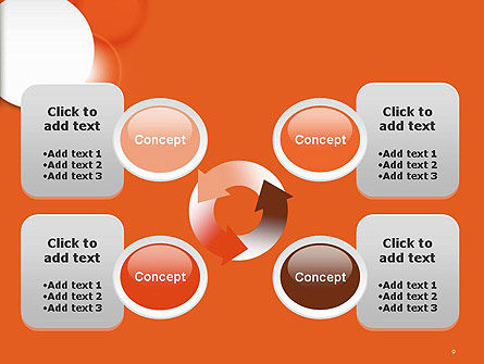 White Circle on Orange Background PowerPoint Template Slide 9