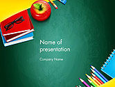 Education & Training: Supplies and Apple on Chalkboard PowerPoint Template #14490