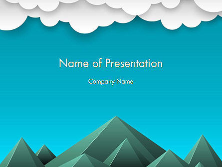 Nature & Environment: Mountains and Clouds Paper Art Style PowerPoint Template #14492
