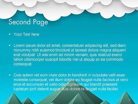 Mountains and Clouds Paper Art Style PowerPoint Template, Slide 2, 14492, Nature & Environment — PoweredTemplate.com