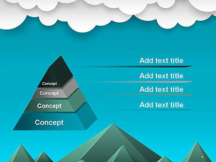 Mountains and Clouds Paper Art Style PowerPoint Template, Slide 4, 14492, Nature & Environment — PoweredTemplate.com