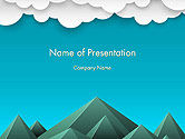 Nature & Environment: Modelo do PowerPoint - montanhas e nuvens papel arte estilo #14492