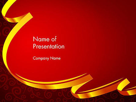 Ornamental Background with Golden Wave PowerPoint Template, 14494, Holiday/Special Occasion — PoweredTemplate.com