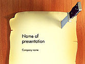 General: Piece of Paper Stuck to Wall with Knife PowerPoint Template #14496