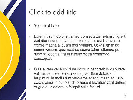 Yellow Circle on Blue Background PowerPoint Template, Slide 3, 14497, Abstract/Textures — PoweredTemplate.com