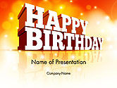 Holiday/Special Occasion: 3D Happy Birthday Text PowerPoint Template #14500