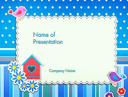 Holiday/Special Occasion: Baby Photo Frame With Flowers and Birds PowerPoint Template #14501