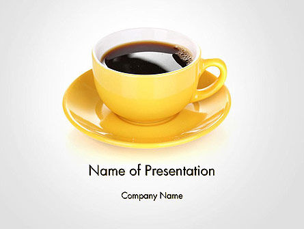 Food & Beverage: Yellow Cup and Saucer PowerPoint Template #14507