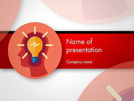 Bulb with Silhouette Human Head PowerPoint Template, 14512, Business Concepts — PoweredTemplate.com