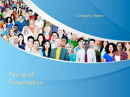 Group of Diverse Multiethnic Cheerful People PowerPoint Template