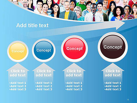 Group of Diverse Multiethnic Cheerful People PowerPoint Template Slide 13