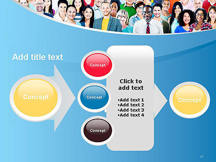 Group of Diverse Multiethnic Cheerful People PowerPoint Template Slide 17