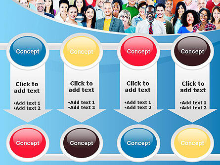 Group of Diverse Multiethnic Cheerful People PowerPoint Template Slide 18