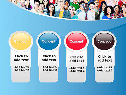 Group of Diverse Multiethnic Cheerful People PowerPoint Template Slide 5