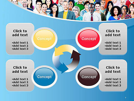 Group of Diverse Multiethnic Cheerful People PowerPoint Template Slide 9