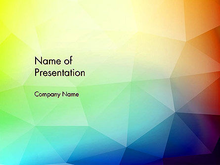 Polygonal Abstract Background with Rainbow Triangles PowerPoint Template