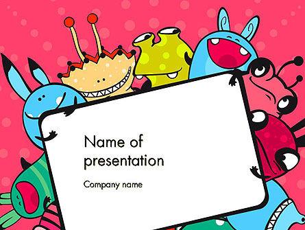 Pink Monster Frame PowerPoint Template, 14520, Art & Entertainment — PoweredTemplate.com