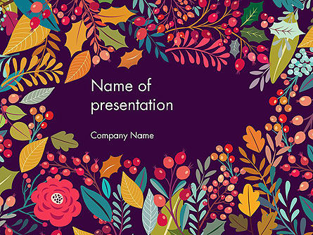 Nature & Environment: Vintage Hand Drawn Floral PowerPoint Template #14522
