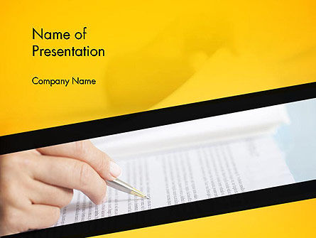 Business Concepts: Woman Working with Text PowerPoint Template #14523