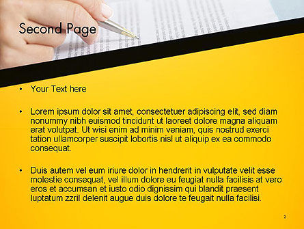 Woman Working with Text PowerPoint Template, Slide 2, 14523, Business Concepts — PoweredTemplate.com