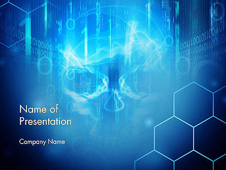 Technology and Science: Digital Abstract Background with Skull PowerPoint Template #14524