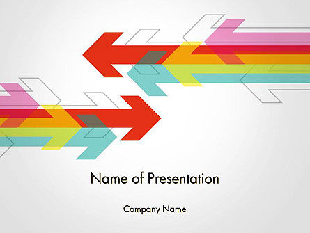Colorful Arrows Pointing into Opposite Directions PowerPoint Template