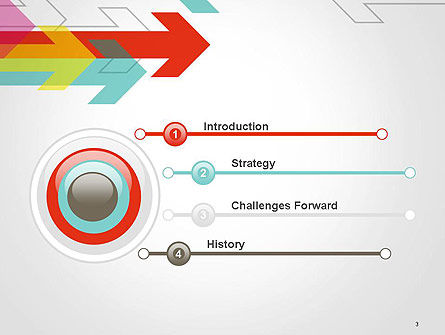 Colorful Arrows Pointing into Opposite Directions PowerPoint Template Slide 3