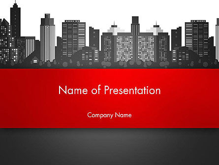Construction: Modern City Silhouette PowerPoint Template #14529
