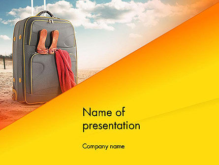 Suitcase on Beach Place PowerPoint Template