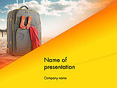 Holiday/Special Occasion: Suitcase on Beach Place PowerPoint Template #14539