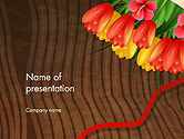 Holiday/Special Occasion: Bunch Of Flowers On Wooden Surface PowerPoint Template #14546