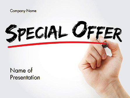 Business Concepts: A Hand Writing 'Special Offer' with Marker PowerPoint Template #14549