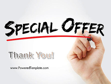 A Hand Writing 'Special Offer' with Marker PowerPoint Template Slide 20