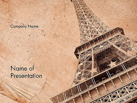 Eiffel Tower Vintage Postcard Style PowerPoint Template
