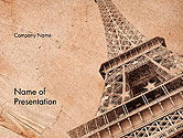 Art & Entertainment: Eiffel Tower Vintage Postcard Style PowerPoint Template #14556