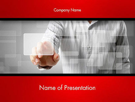 Hand Pushing Touch Screen Button PowerPoint Template, 14562, Technology and Science — PoweredTemplate.com