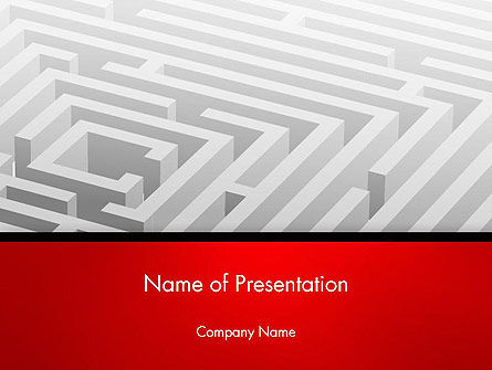 3D: White Square Maze PowerPoint Template #14567