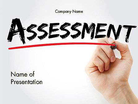 A Hand Writing 'Assessment' with Marker PowerPoint Template, 14569, Business Concepts — PoweredTemplate.com