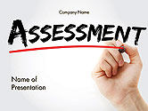 A Hand Writing 'Assessment' with Marker PowerPoint Template#1