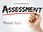 A Hand Writing 'Assessment' with Marker PowerPoint Template#20